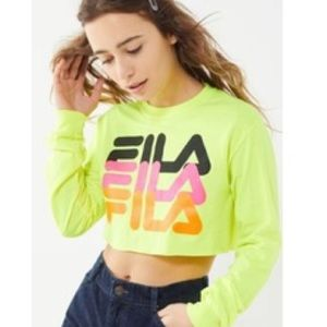 NWOT Neon Fila cropped long sleeve